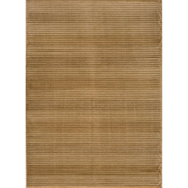 Illusion Power-loomed Stripe Beige Rug (9'3 x 12'6)