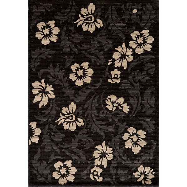 Illusion Power-loomed Leaves Charcoal Rug (7'10 x 9'10)