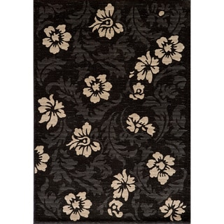 Illusion Power-loomed Leaves Charcoal Rug (9'3 x 12'6)