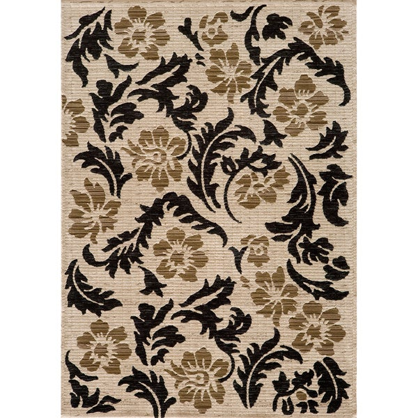 Illusion Power-loomed Leaves Ivory Rug (5'3 x 7'6)
