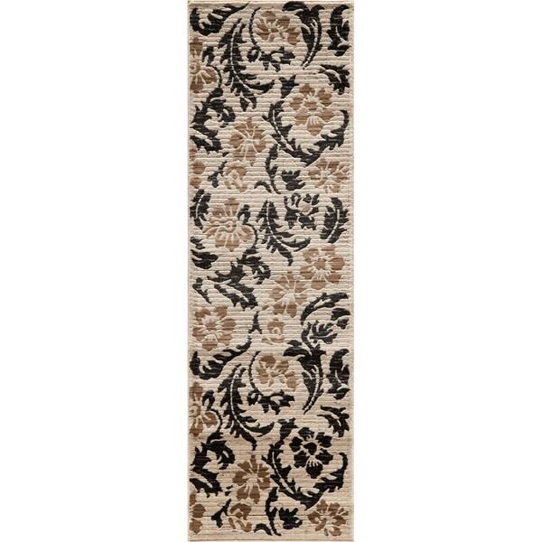 Illusion Power-loomed Leaves Ivory Rug (2'3 x 7'6)