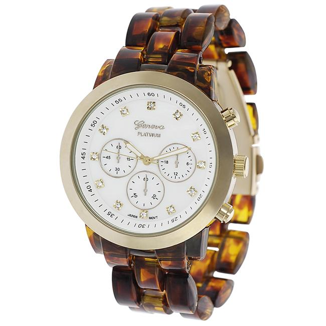 Geneva Platinum Women's Czech Rhinestone-Accented Mother of Pearl Link Watch