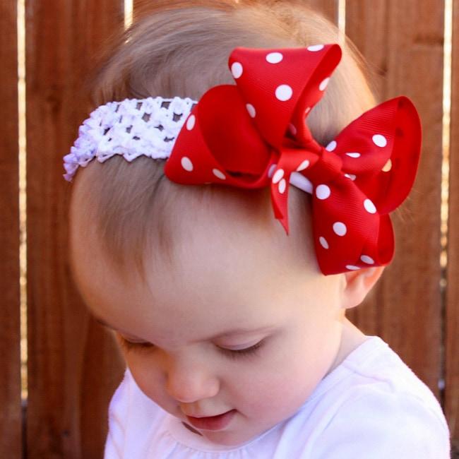 Red and White Polka Dot Detachable Big Bow Headband