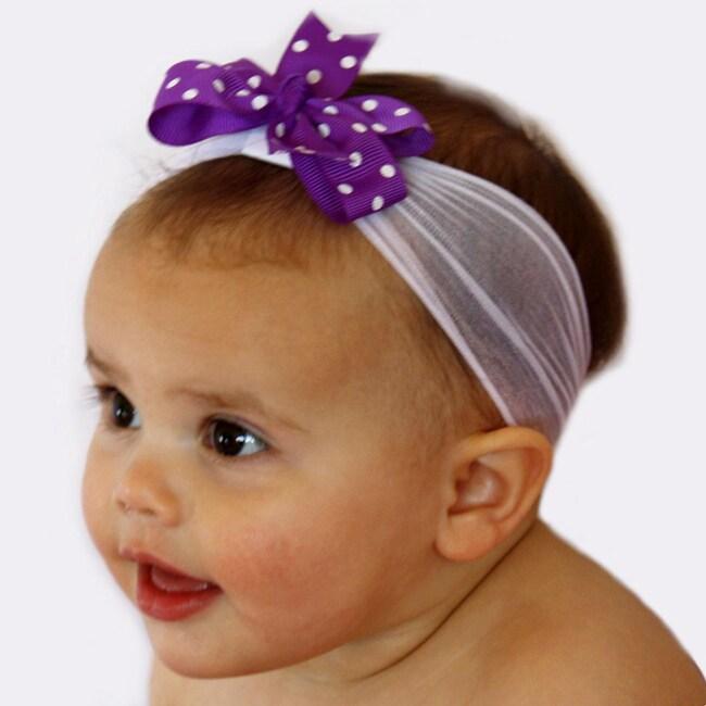 Purple and White Nylon Headband with Detachable Bow