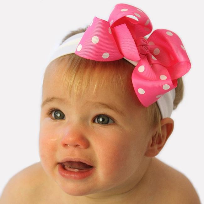 Baby Pink and White Polka Dot Detachable Big Bow Headband
