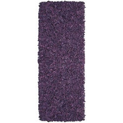 Hand-tied Pelle Purple Leather Shag Rug (2'6 x 8')