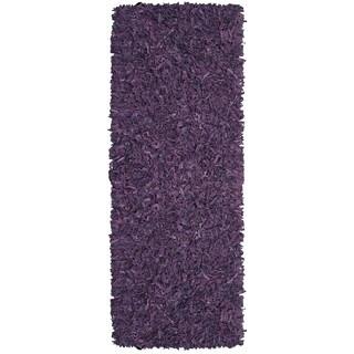 """Hand-tied Pelle Purple Leather Shag Rug (2'6 x 8') - 2'6"""" x 8'"""