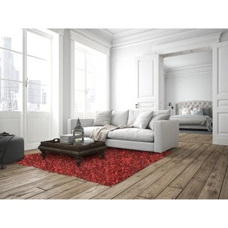 Hand-tied Pelle Red Leather Shag Rug (4' x 6')