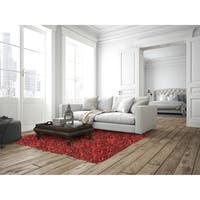 "Hand-tied Pelle Red Leather Shag Rug (2'6 x 8') - 2'6"" x 8'"