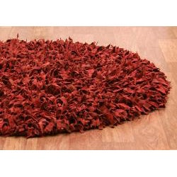 Hand-tied Pelle Red Leather Shag Rug (4' Round)