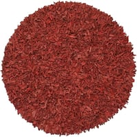 Hand-tied Pelle Red Leather Shag Rug (4' Round) - 4' x 4'