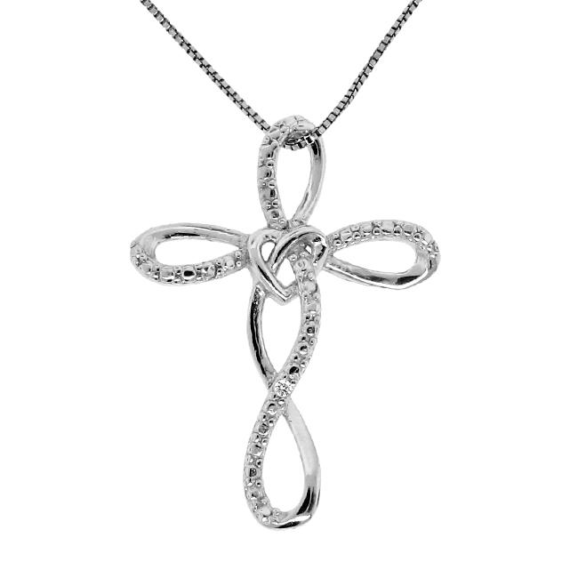 Sterling Silver Diamond Accent Cross Loop Necklace