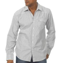 191 Unlimited Men's Grey Striped Woven Shirt - Thumbnail 1