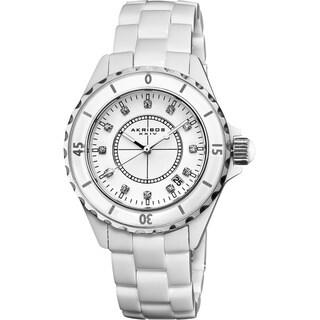 Akribos XXIV Women's Quartz Date Oversized Ceramic Bracelet Watch