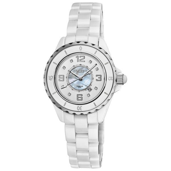 Akribos XXIV Quartz Date Women's Ceramic Casual White Bracelet Watch