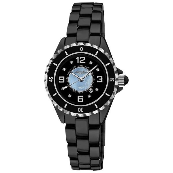 Akribos XXIV Women's Quartz Date Midsize Ceramic Black Bracelet Watch with FREE GIFT
