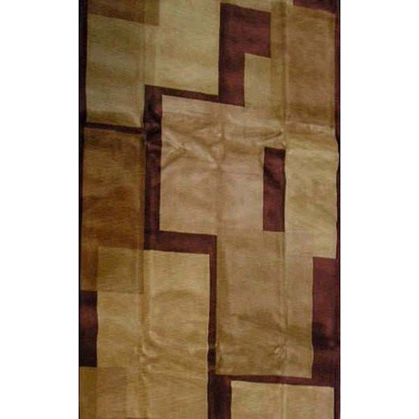 Hand-knotted 'Moments' Brown Wool Rug (6' x 9')