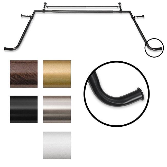 Pinnacle Bay Window 1 Inch Diameter Double Curtain Rod Set