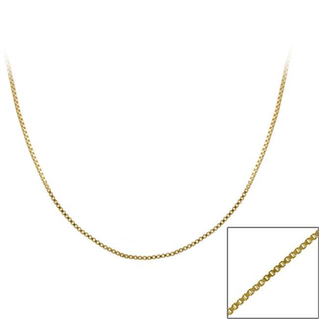Mondevio 18k Gold over Silver Italian 36-inch Box Chain Necklace