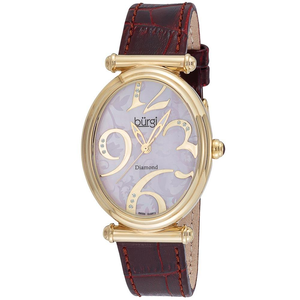 Burgi Women's Swiss Quartz Stainless Steel Floral Watch