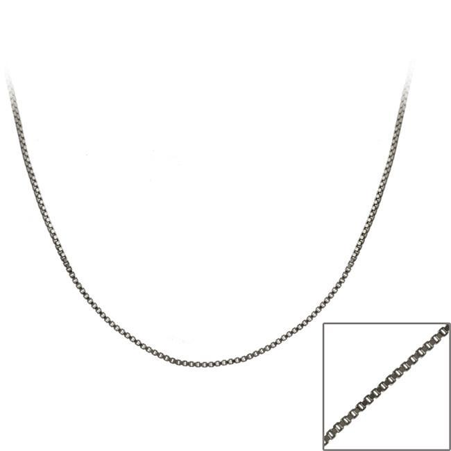 Mondevio Black Rhodium over Silver Italian 36-inch Box Chain Necklace