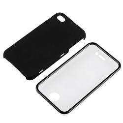 Rubber Coated Case with Cover for Apple iPhone 4 - Thumbnail 1