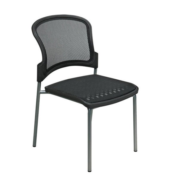 Office Star Visitors Titanium Finish Stacking Chairs (Pack of 2)