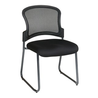 Titanium Finish Visitors Chair with Back and Sled Base