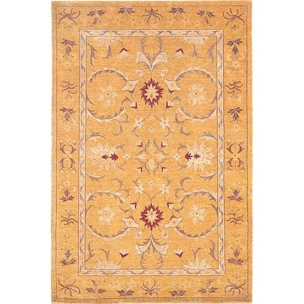 ABBYSON LIVING Hand-knotted 'Harvest Moon' Contemporary Gold Wool Area Rug (6' x 9')