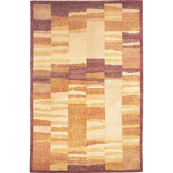 Hand-knotted 'Boundless' Gold Wool Rug (6' x 9')