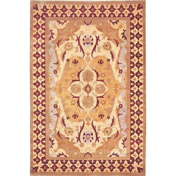 Hand-Knotted 'Harvest Moon' Gold Wool Area Rug (6' x 9')