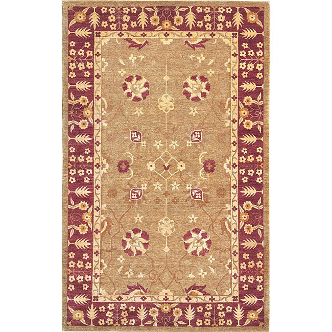 ABBYSON LIVING Hand-knotted 'Harvest Moon' Gold Wool Traditional Rug (6' x 9')