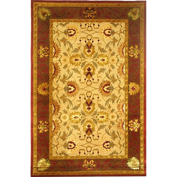 ABBYSON LIVING Hand-knotted 'English Rose' Gold/ Burgundy Wool Area Rug (6' x 9')