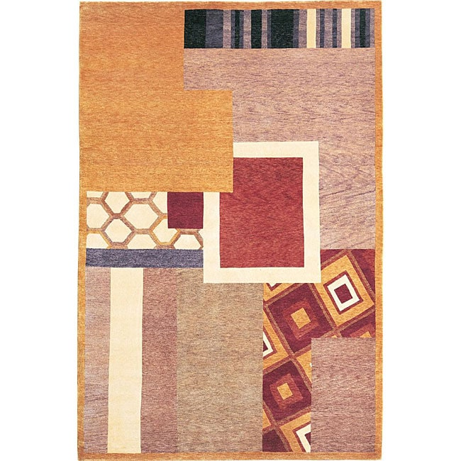 ABBYSON LIVING Hand-knotted 'Destiny' Geometric-print Gold Wool Area Rug (6' x 9')