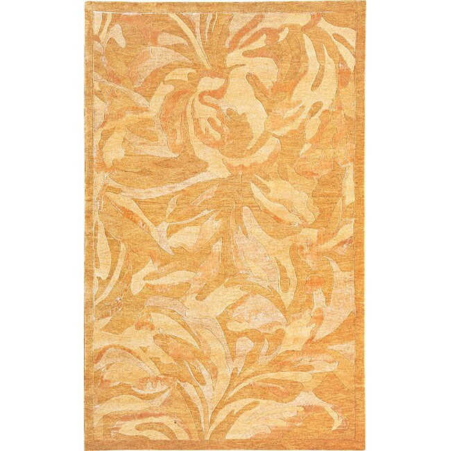 ABBYSON LIVINGContemporary Hand-Knotted 'Charmant' Gold Wool Rug (6' x 9')