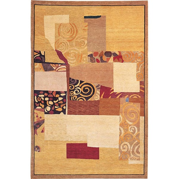 ABBYSON LIVING Hand-knotted 'Charmant' Geometric-print Gold Wool Area Rug (6' x 9')