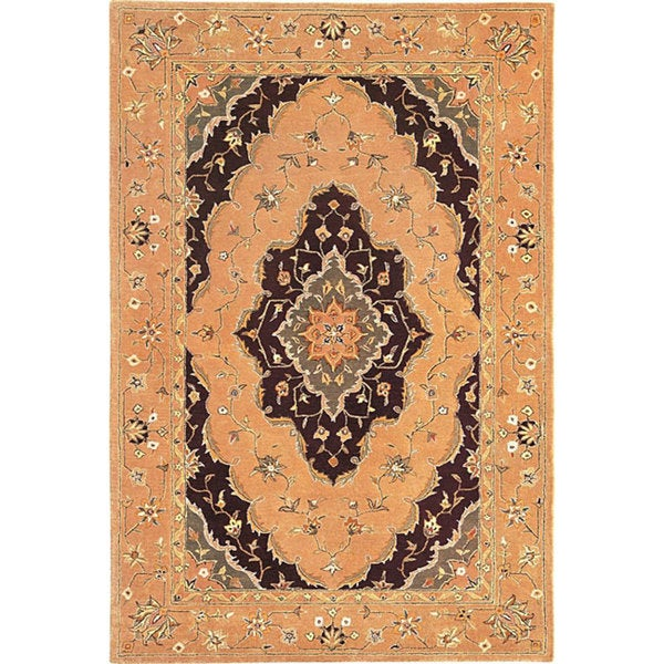 Hand-knotted 'Venetian' Gold Wool Rug (6' x 9')