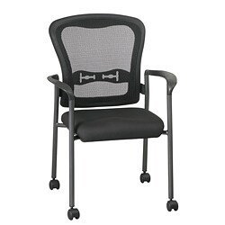 Office Star Visitors Arms and Casters Titanium Stacking Chair