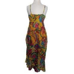 Women's Cotton Yellow Floral Adjustable Strap Ruffle Dress (Nepal)