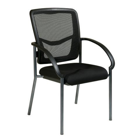 Office Star ProGrid® Back Visitors Chair with Arms and Titanium Finish