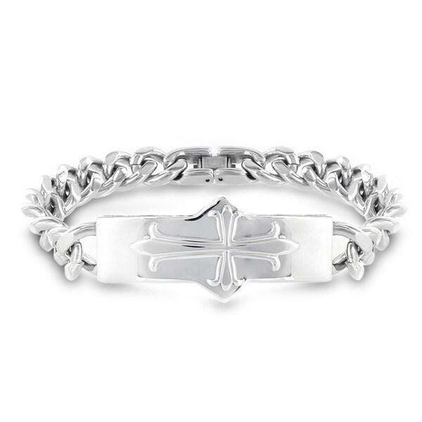 Stainless Steel Cross ID Curb Chain Bracelet