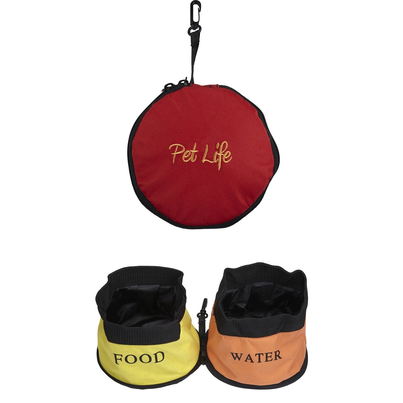 Petlife Double Collapsible Travel Pet Bowl (Red)