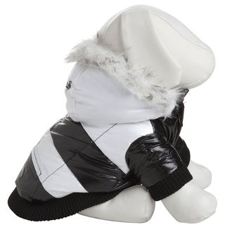Pet Life Thinsulate Black/White Stripe Dog Parka w/ Removable Hood