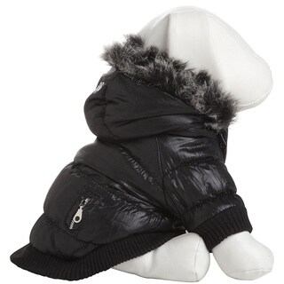 Pet Life Black Thinsulate Metallic Dog Parka w/ Removable Hood