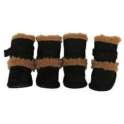 Duggz Black Shearling Pet Boots w/ Sherpa Trim (Set of 4)