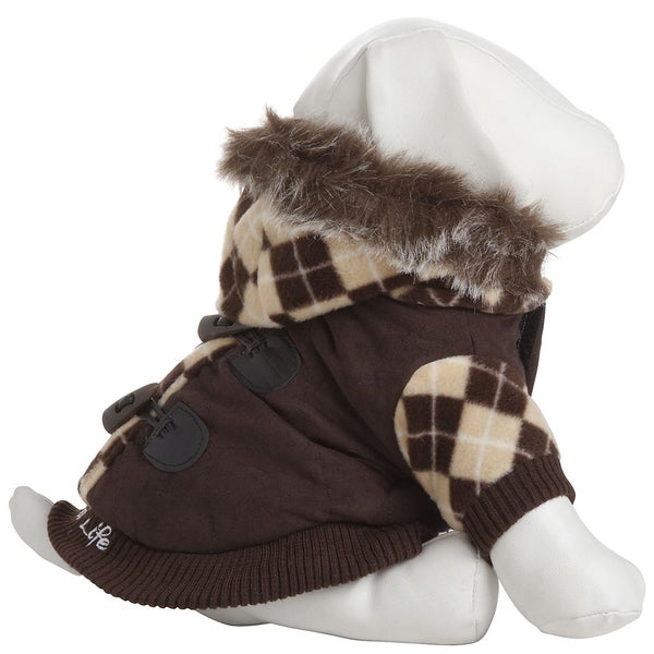 Pet Life Designer Patterned Removable Hood Cotton Pet Sweat Jacket