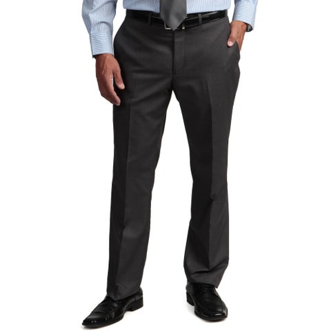 Kenneth Cole Reaction Men's Slim-Fit Solid Grey Flat-Front Suit Separate Pant