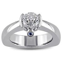 Miadora Signature Collection 18k White Gold 1ct TDW Diamond and Sapphire Ring