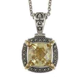 MARC Sterling Silver Canary Cubic Zirconia and Marcasite Necklace with 14K Yellow Gold Overlay Prongs|https://ak1.ostkcdn.com/images/products/5938090/MARC-Sterling-Silver-Yellow-Cubic-Zirconia-and-Marcasite-Necklace-P13637944.jpg?impolicy=medium
