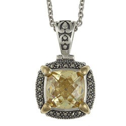 MARC Sterling Silver Canary Cubic Zirconia and Marcasite Necklace with 14K Yellow Gold Overlay Prongs
